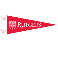 """9"""" x 24"""" pennant with flocked Rutgers University. Show your Rutgers pride. Click photo for other possible graphic options."""