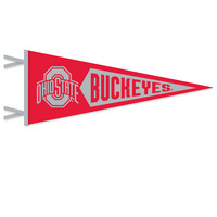 9 x 24 pennant with flocked Ohio State. Show your Ohio State pride. Click photo for other possible graphic options. Click photo to view other possible graphic options.