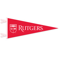 "12"" x 30"" pennant with flocked Rutgers University Logo. Show your Scarlet Knights pride. Click photo to view other possible graphic options."