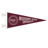 12 x 30 pennant with flocked Mississippi State University Logo. Show your support for Bulldogs!