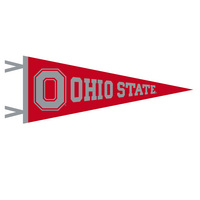 12 x 30 pennant with flocked Ohio State Logo. Show your support for Buckeyes! Click photo to view other possible graphic options.