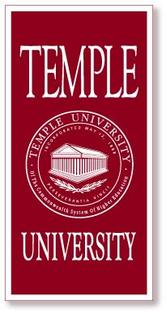 Temple Vertical Logo Banner from Collegiate Pacific