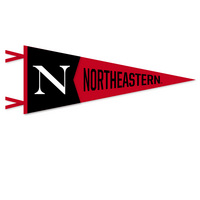 12 x 30 pennant with flocked with Northeastern University logo. Click photo to view other possible graphic options. Imported
