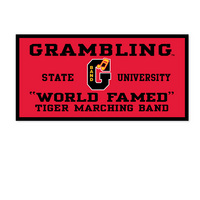 "18"" x 36"" banner with flocked Grambling State University logo. Show your support for Tigers! Click photo to view other possible graphic options."