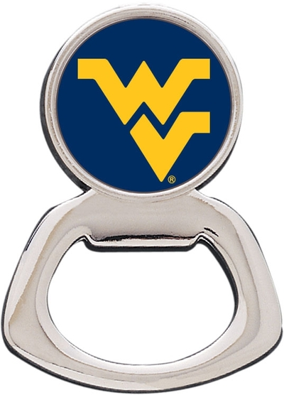 WVU Mountaineers Silver Tone Bottle Opener Magnet