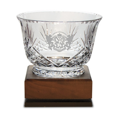 Handcut Deep Etched Traditional Crystal Footed Revere Bowl 7.5x5H