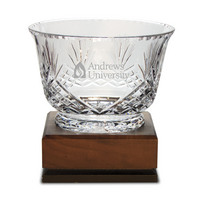 Handcut Deep Etched Traditional Crystal Footed Revere Bowl (online only)