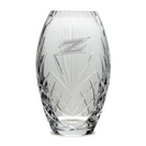 Etched Crystal Barrel Vase 10H