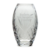 Etched Crystal Barrel Vase 10H (Online Only)