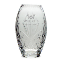 Etched Crystal Barrel Vase