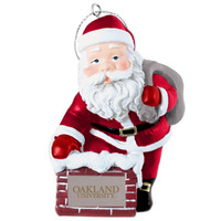 Rooftop Santa Ornament Custom designed 3 poly resin Santa ornament. One color school name on chimney.