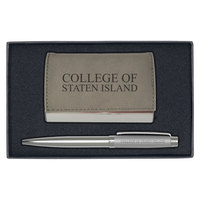Velour Business Card  Holder and Pen Set