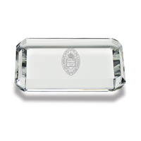 Etched Rectangular Crystal Paperweight