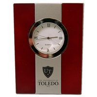 University of Toledo Wood and Metal Desk Clock