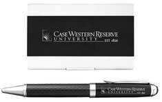 2 Piece Carbon Fiber Set with Card Holder and Pen
