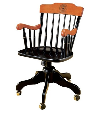 Swivel Desk Chair Laser Seal Black with Cherry Arms & Crown (Online Only)