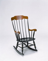 ONLINE ONLY Boston Rocker with black solid maple hardwood, cherry finished arms and crown